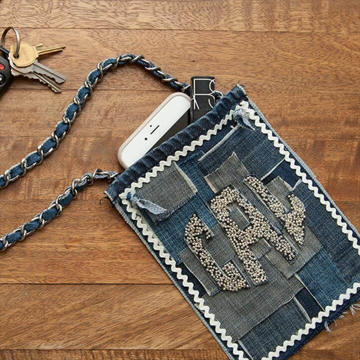denim bag, mini bag, diy tutorial