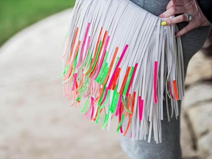 DIY Painted Fringe Handbag