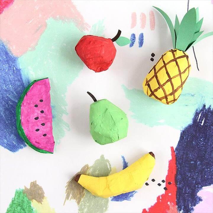 DIY Papier-Mâché Fruit Ornaments