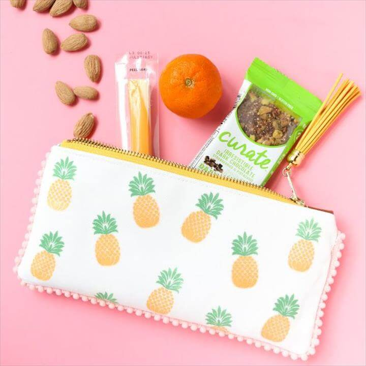 DIY Pineapple Pouch with lace