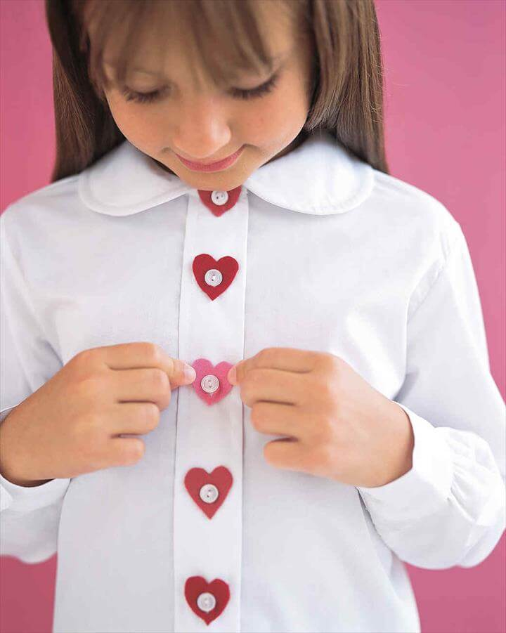 Heart-Shaped Button Covers, No-Sew Accessories, heart shirt, heart button
