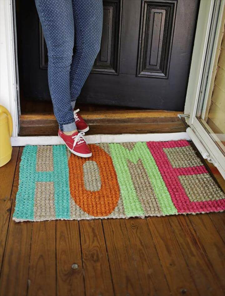 DIY Project Idea: Update An Old Doormat With Paint!