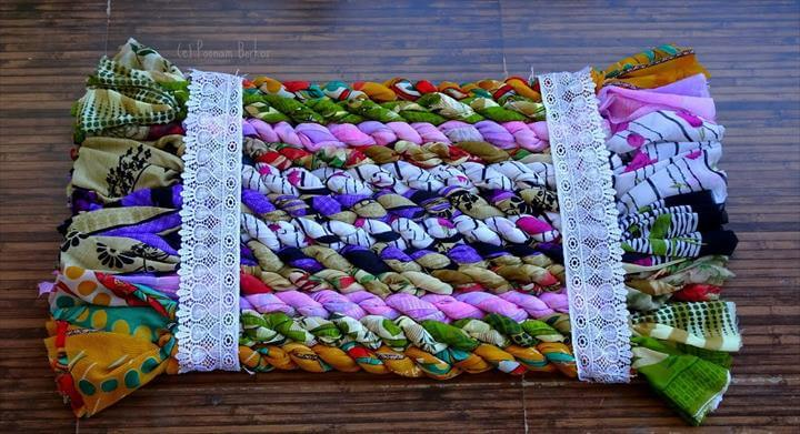 DIY - Jumbo door mat from old sarees, Easy floor mat, Recycling old clothes