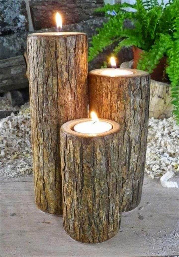 Romantic Wood Outdoor Candles
