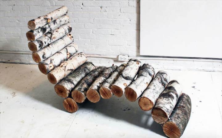 DIY log lounger for outdoors