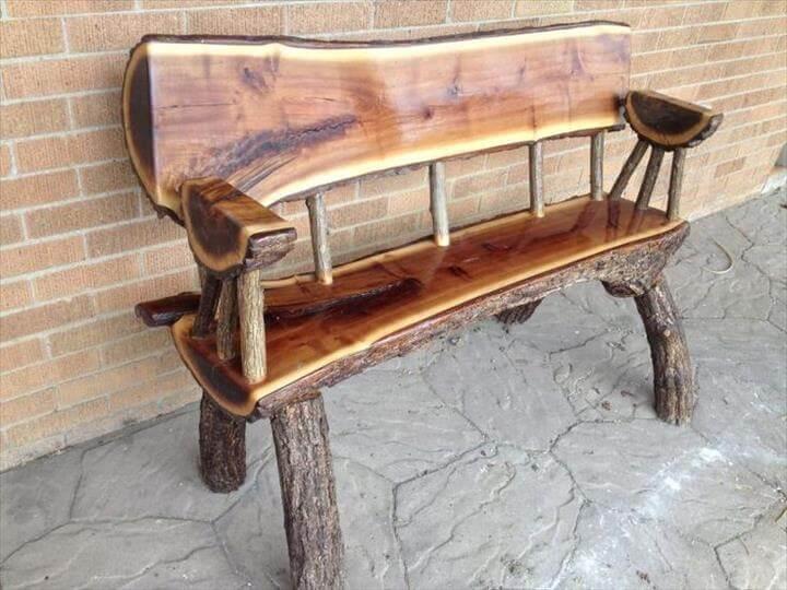 diy table, diy bench, outdoor bench, sitting bench, log bench, wooden bench