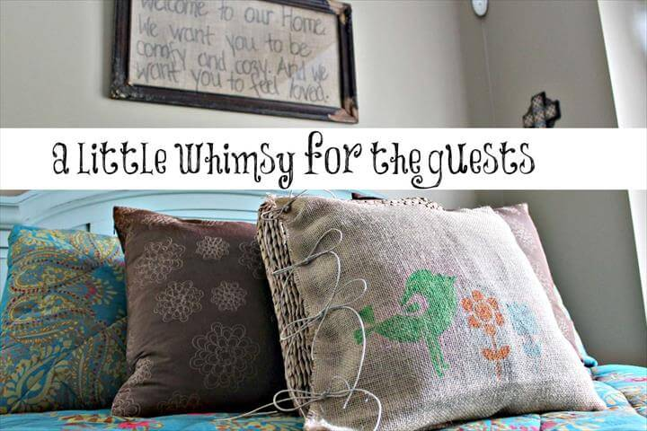 diy home decor, diy pillow, diy burlap, burlap pillow