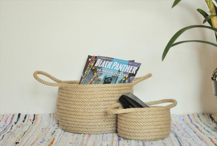 diy basker, no sew basket, rope basket, storage