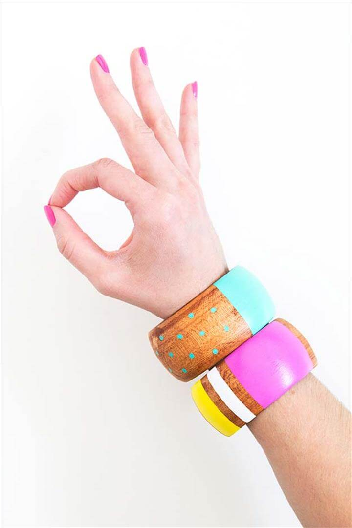 DIY PAINTED WOOD BANGLE BRACELETS