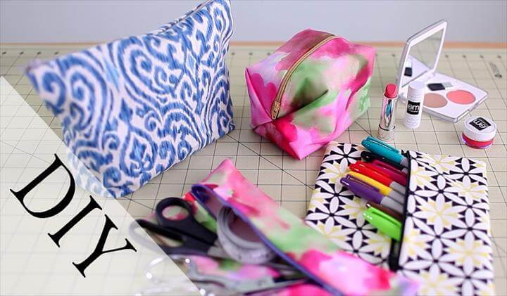 DIY Pencil Case & Makeup Bag {No Sew & Sew}