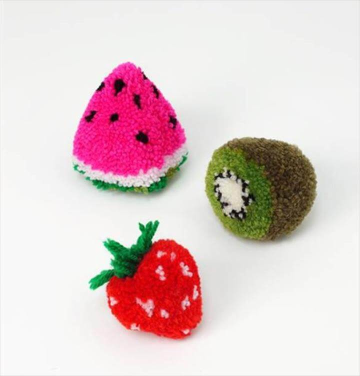 DIY Crafts with Pom Poms - DIY Fruit Pom Poms - Fun Yarn Pom Pom Crafts Ideas. Garlands, Rug and Hat Tutorials, Easy Pom Pom Projects for Your Room Decor and Gifts