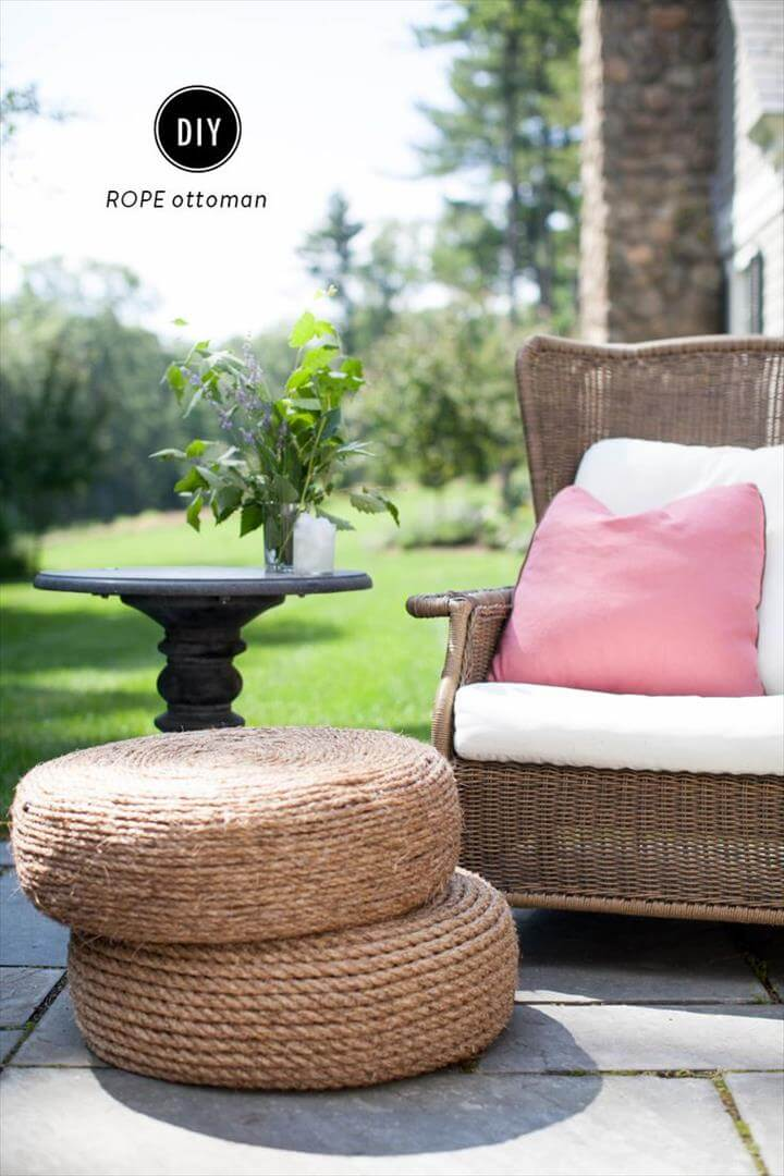 Diy Rope Ottomans Best Tire Ottoman Ideas On Pinterest Stool Weekend