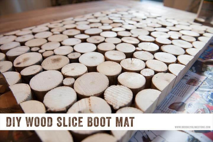 DIY Wood Slice Door Mat Boot Tray