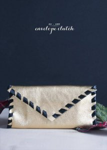 Handmade Holiday no sew Leather Clutch