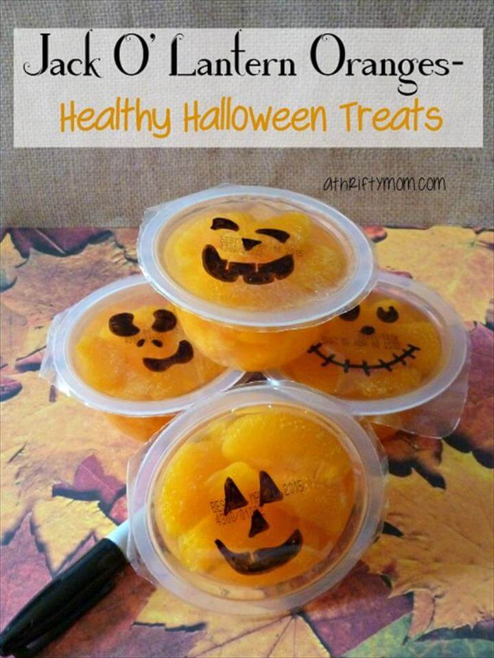 Jack o lantern oranges healthy Halloween snacks,