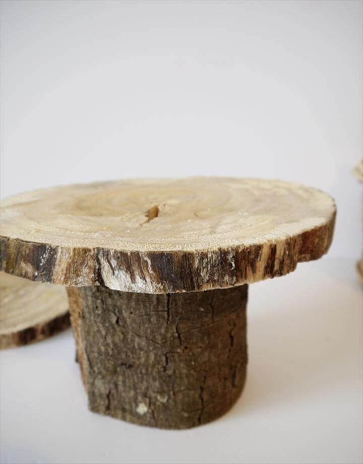 DIY Rustic Log Pedestal Cake Stand