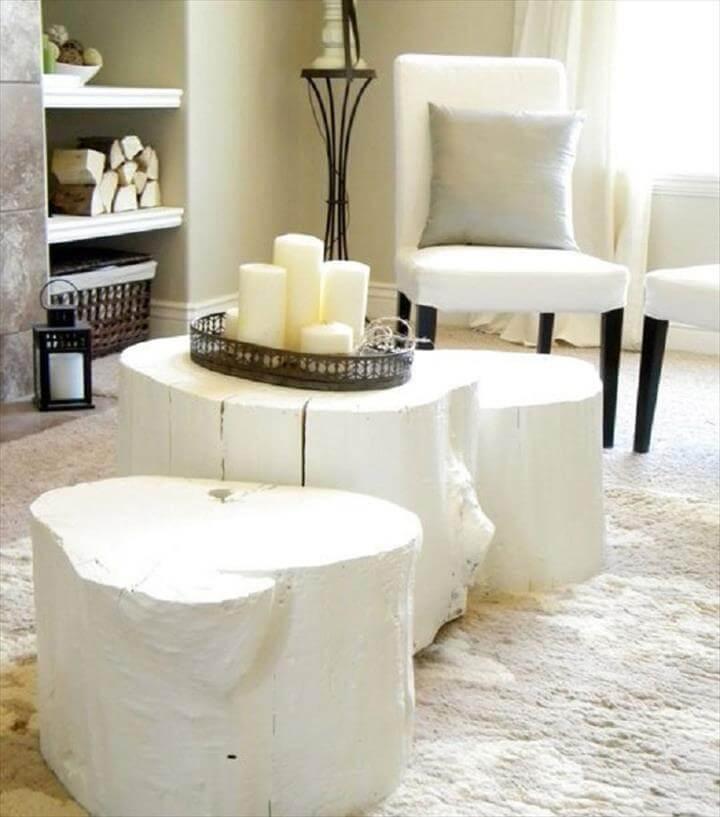 Tree Stump Table- White