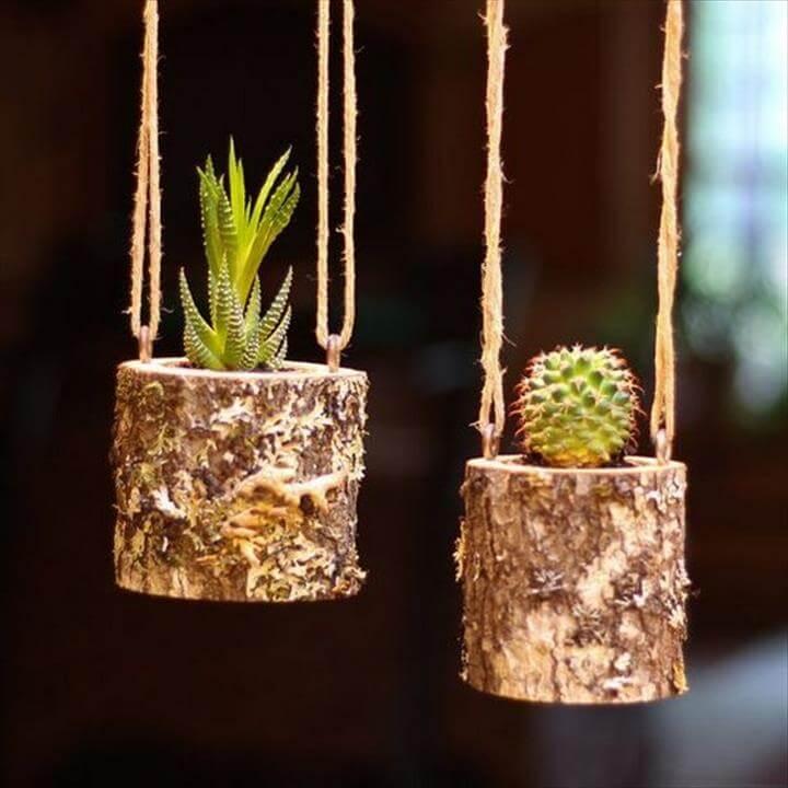 Unique Logs Hanging Planters