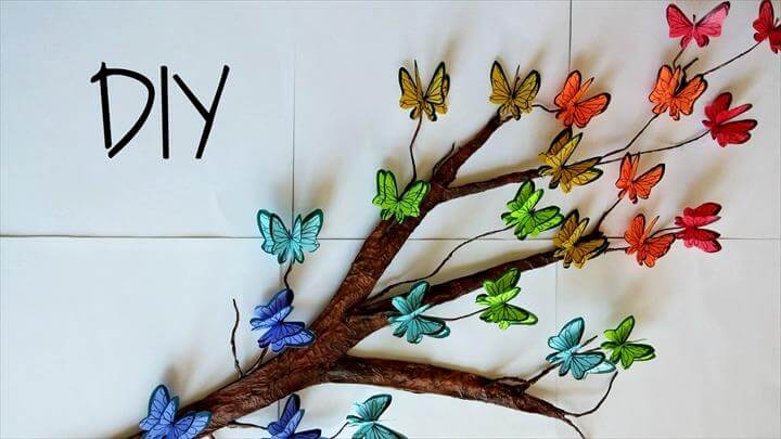 DIY Tree Branch + 3D Butterflies