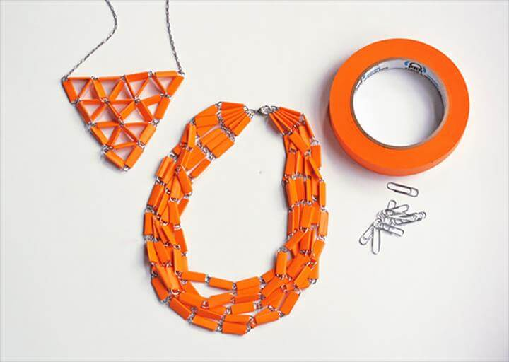 DIY Paperclip and Tape Necklaces