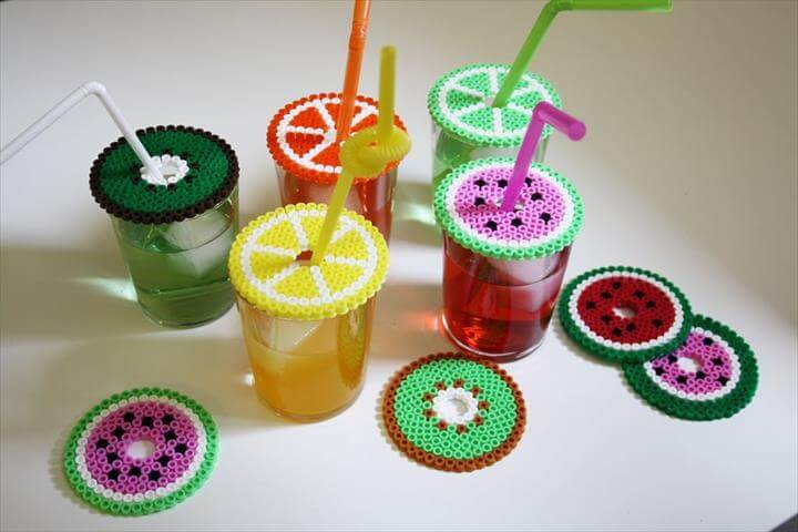 DIY Pearler Bead Fruit Drink Covers