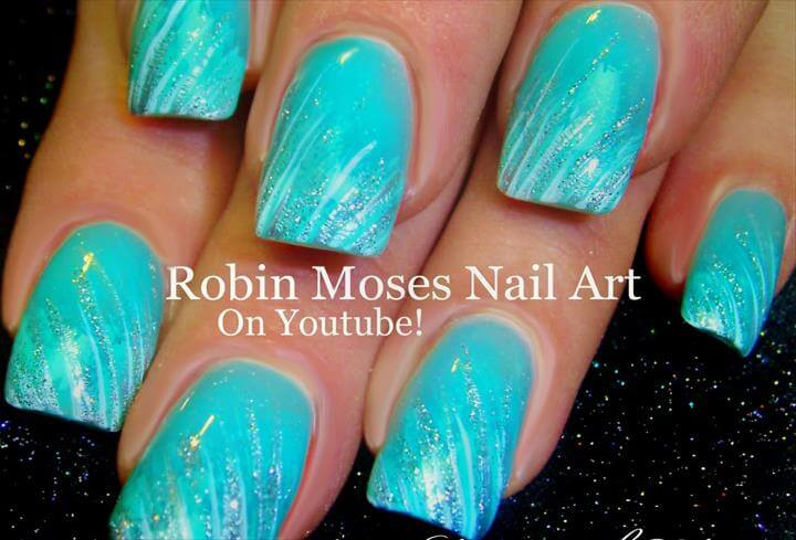 EASY Glitter Striped Nails