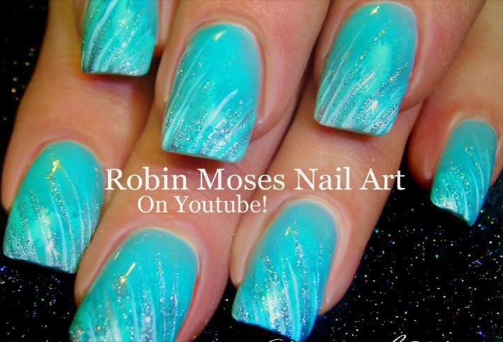 EASY Glitter Striped Nails