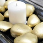 Gold Rock Candle Centerpiece easy home decor craft idea