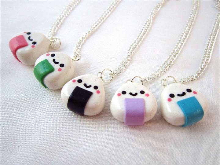 DIY kawaii sushi necklaces