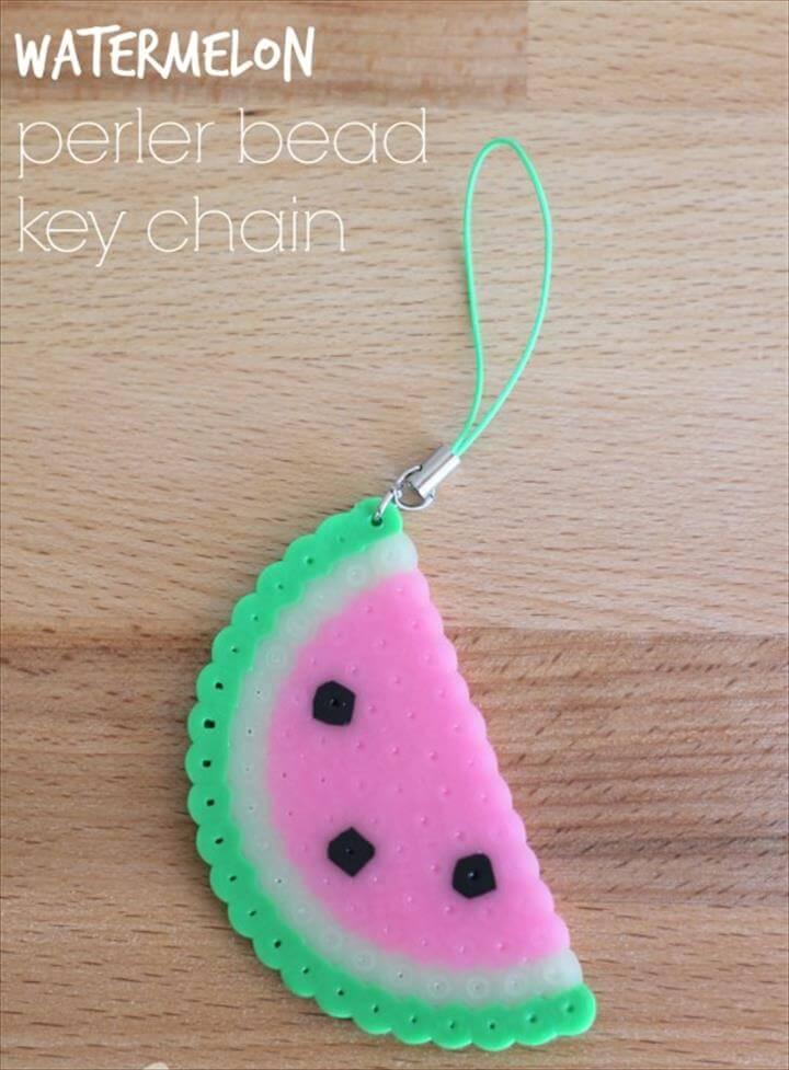 Watermelon Perler Bead Keychain