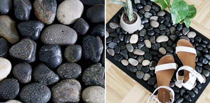 River Stone Bath Mat For Your Shower - Easy DIY Stone Bath Mat