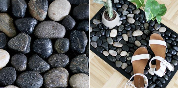 River Stone Bath Mat For Your Shower - Easy DIY Stone Bath Mat