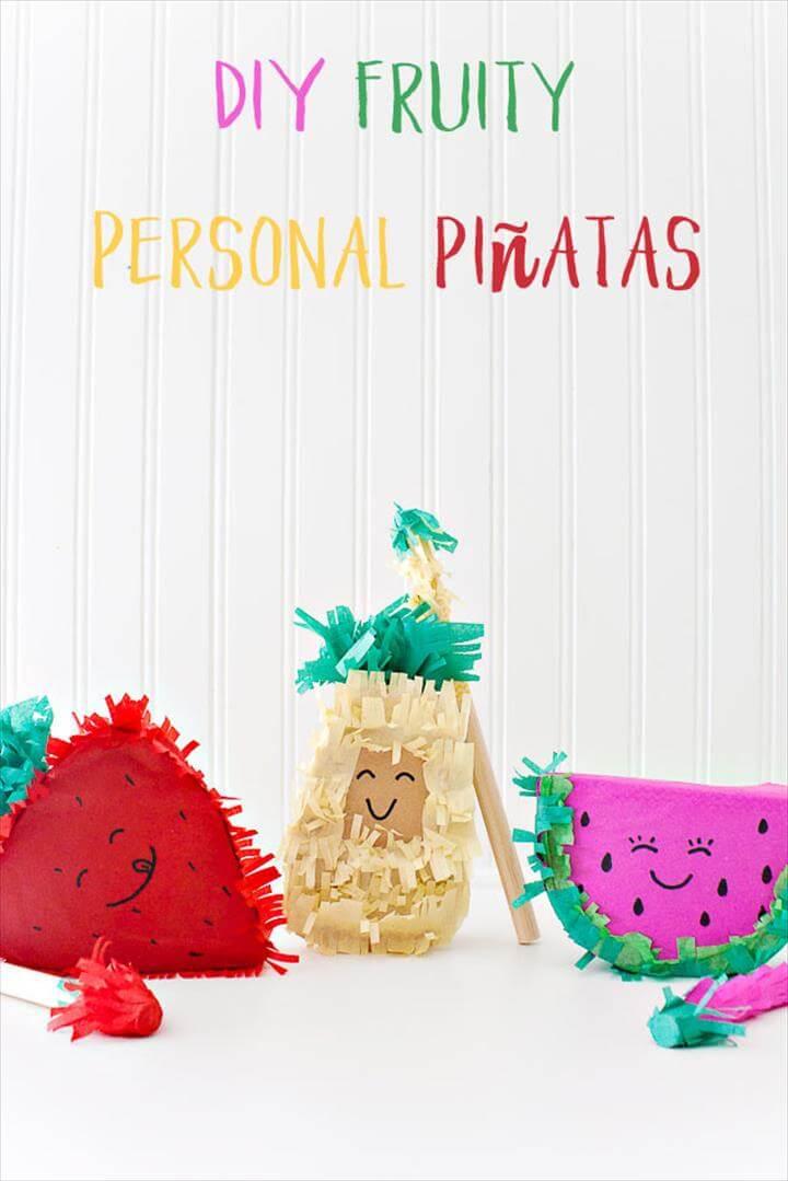 DIY fruity personal piñatas! So cute! Pineapple, Strawberry and Watermelon. Cute free