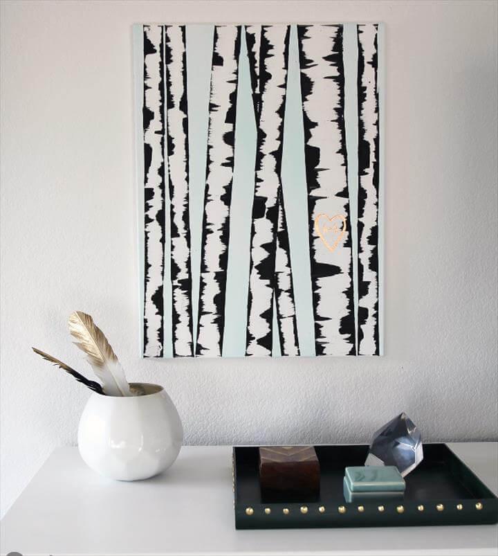 DIY WALL ART: BIRCH TREE PAINTING