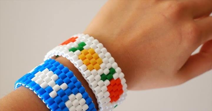 DIY Fish or Fruit Perler Bead Stretch Bracelet