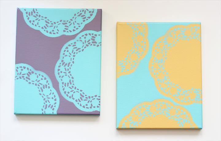 diy canvas art with spray paint doily doilies