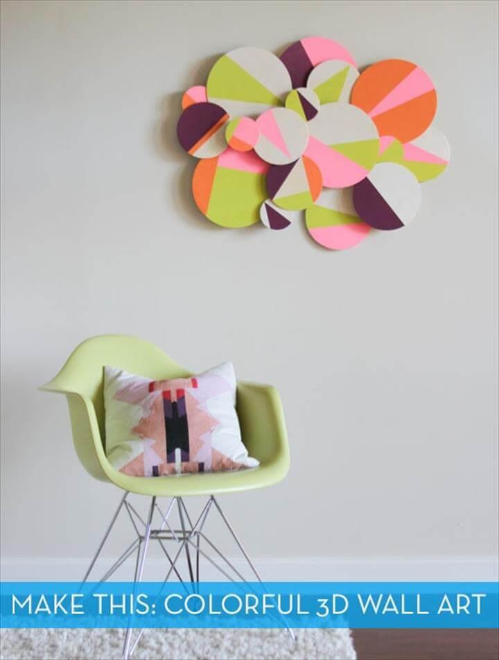 DIY Colorful 3D Geometric Wall Art