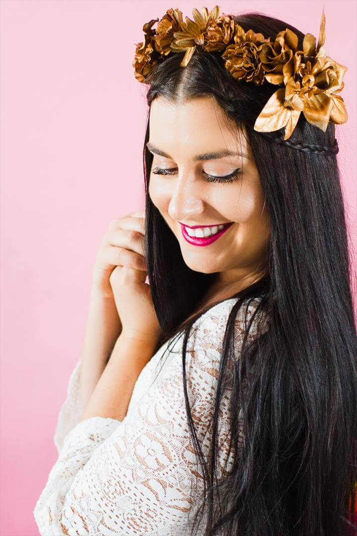 DIY METALLIC FLOWER CROWN FOR ALL YOU COPPER COLOUR LOVERS!