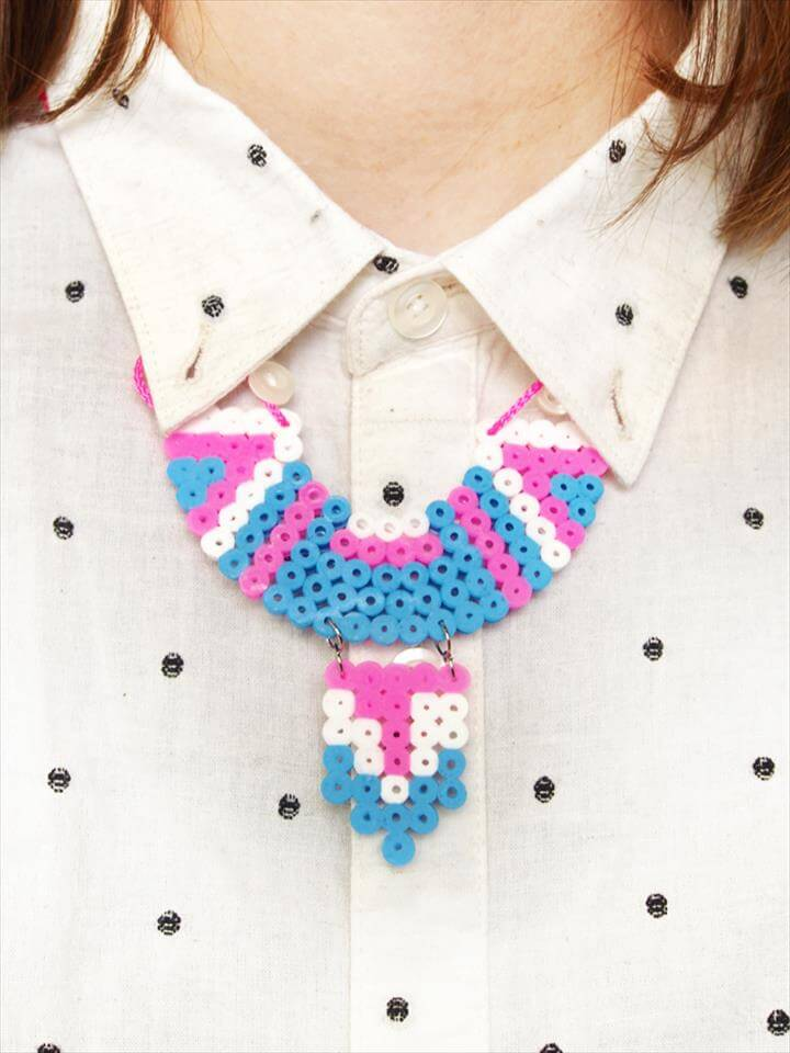 DIY Hama bead collar necklace