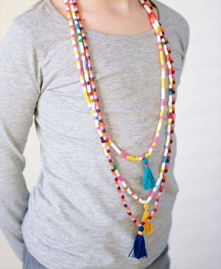 Hama Bead & Tassel Necklace