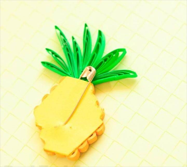 Paper Quilling Pineapple Brooch - oh the fun you can have with paper.