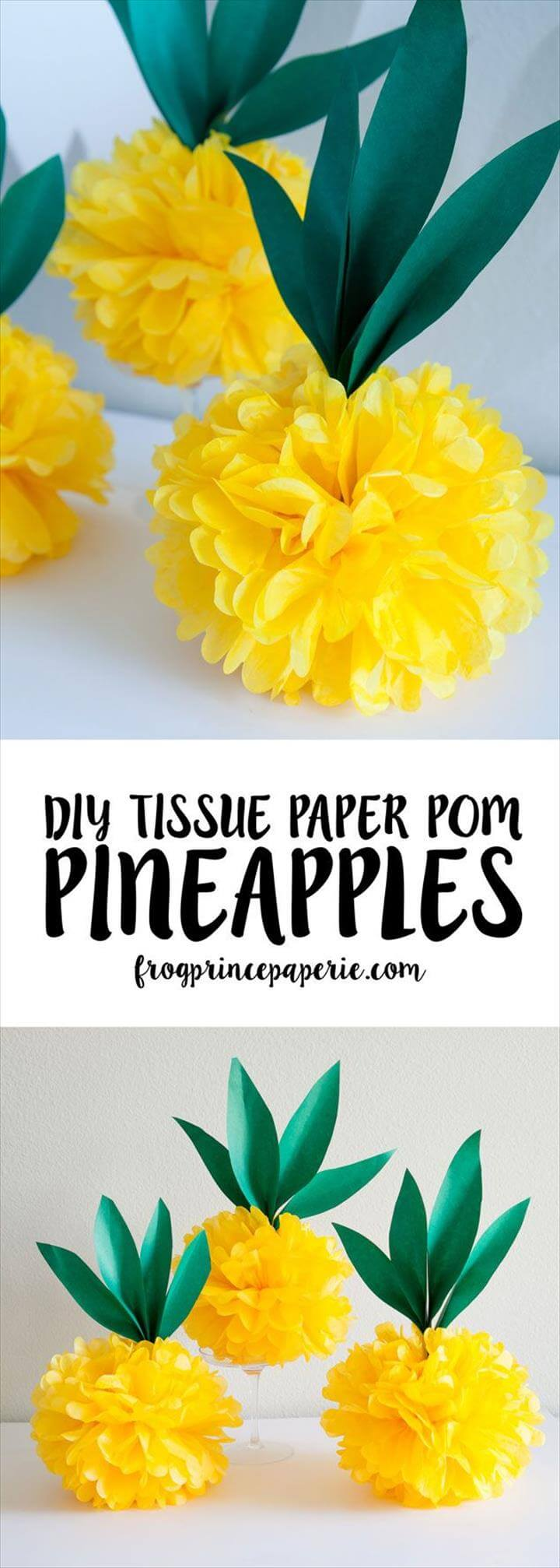 Diy Crafts Ideas. Make your own luau, pineapple party or flamingo party decorations with easy tiss.