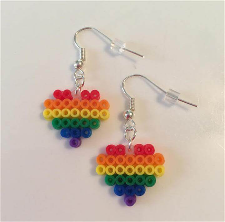 Perler Bead Rainbow Earrings