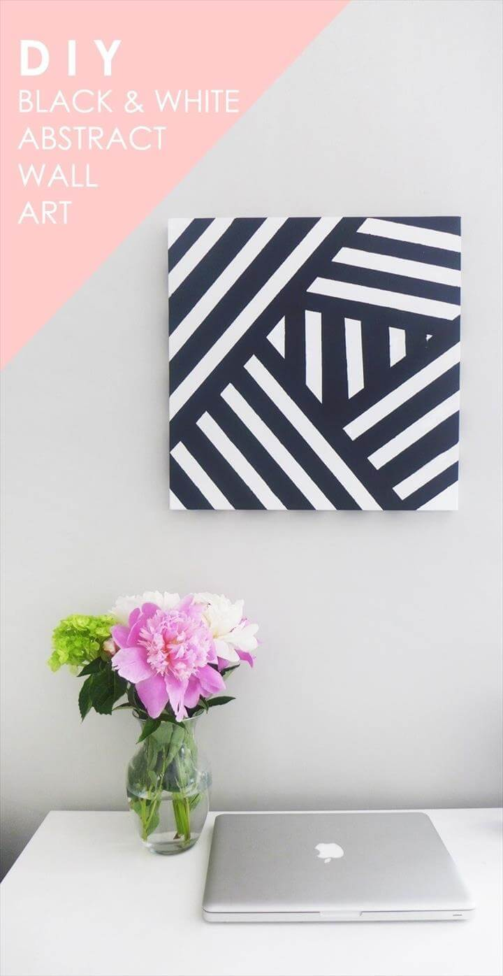 Black and White Striped DIY Wall Art Idea