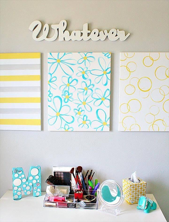 Easy DIY Wall Art - Yellow + Gray + Turquoise