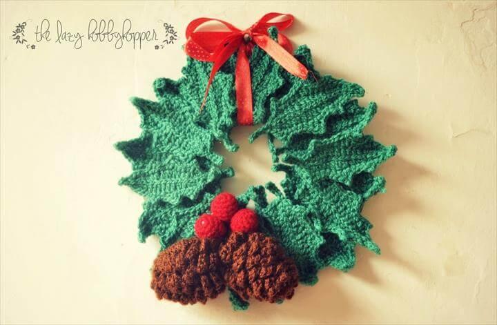 wreath, door wreath, crochet wreath