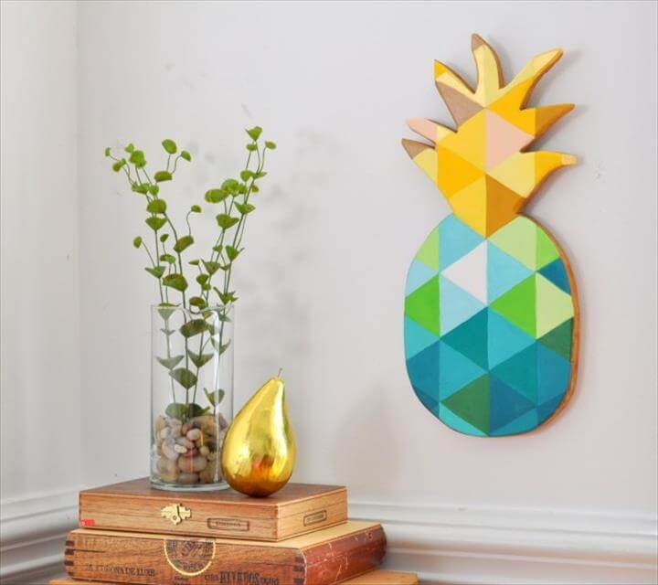 DIY Painted Geometric Pineapple
