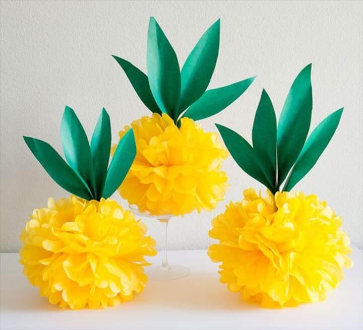 Paper Pineapples, Diy Tissue Paper, Tissue Paper Tutorials, Diy Paper Crafts, Tissue