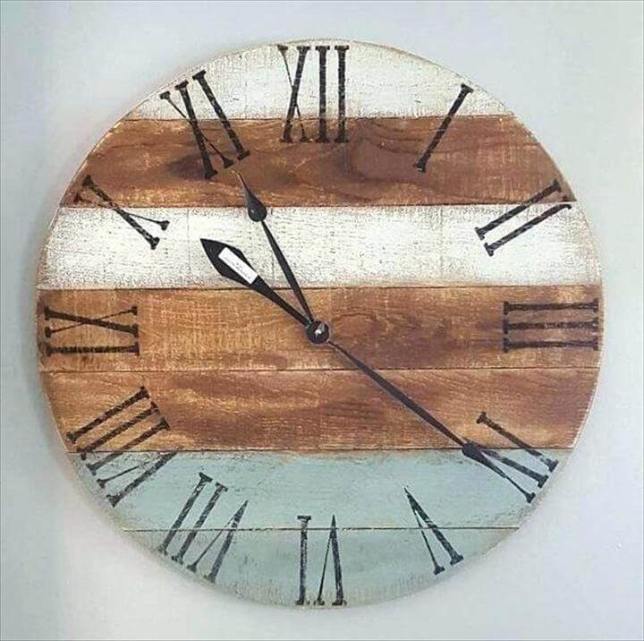 Farmhouse Clock Wall White Wood Clock Painted Pallet Clock Blue Clock White Clock Rustic Clock Farmhouse Clock Wall Clock