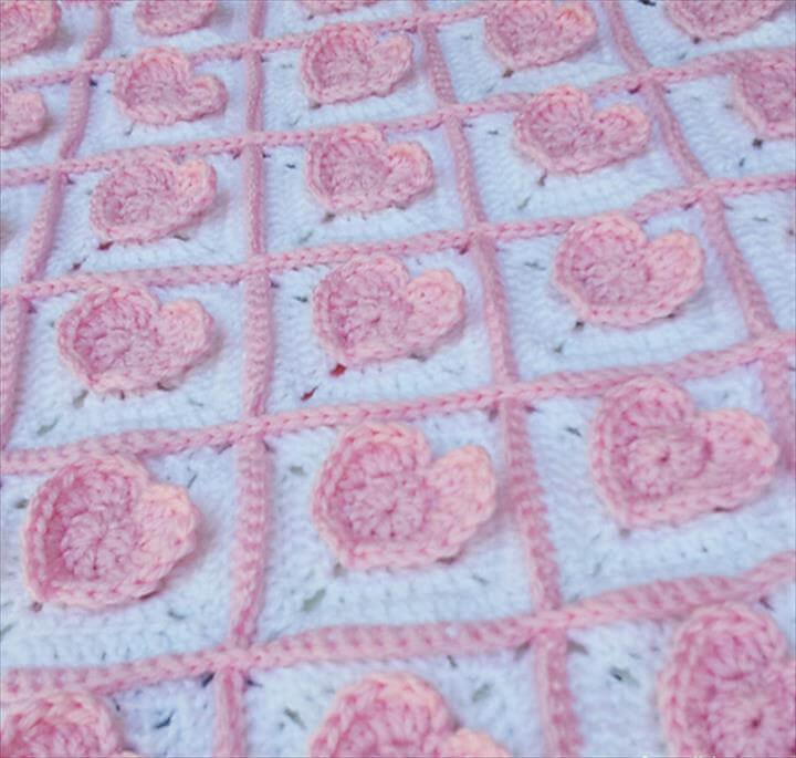 3D Heart Granny Baby Blanket